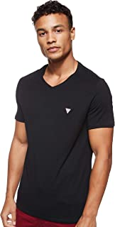 GUESS Men's V- Neck Small Sleeve 100 Core T-Shirt