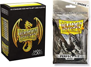 Dragon Shield Bundle: Non Glare Matte 20th Anniversary 100 Count Standard Size Deck Protector Sleeves and 100 Count Perfect Fit Smoke Inner Card Sleeves
