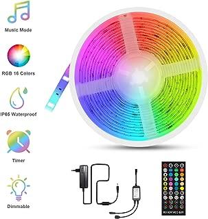 Tira LED Música, Fansteck LED Strip RGB 5050, Luces Led Multicolor 5M con 150 Leds 12V, 40 Botones Control Remoto, Impermeable IP65, Luces Decorativas para Habitación, Fiestas, Navidad, Cocina.