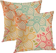 Batmerry Floral Flower Decorative Pillow Covers, 22 x 22 Inch Floral Decor SeamlessPattern with Flowers Decorative Double ...