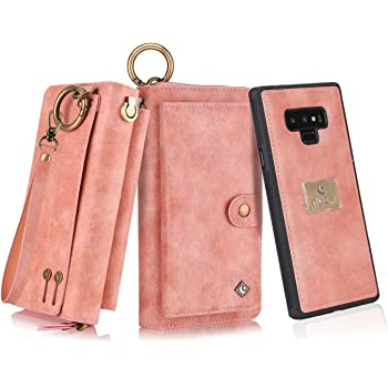 Petocase Compatible Note 9 Wallet Case, Multi-Functional PU Leather Zip Wristlets Clutch Detachable Magnetic 13 Card Slots & 4 Cash Pocket Protection Cover for Samsung Galaxy Note 9 Pink