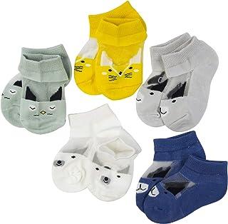 SYEEGCS - Calcetines para niños y niñas (5 pares, algodón transpirable, transparente, lana de cristal