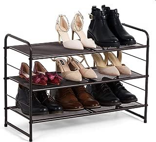 Bextsware Stackable 3-Tier Metal Mesh Utility Shoe Rack Organizer, Expandable Shoe Shelf Storage for Cabinet Closet Bedroom Entryway, Fits Boot, High Heel, Slipper, Sneaker, Sandal, Flats (Bronze)