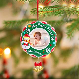 Unomor 2019 My Very First Baby's First Picture Frame Baby's First Christmas Ornament Gifts