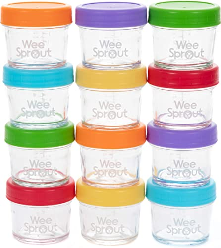 WeeSprout Glass Baby Food Storage Jars - 12 Set, 4 oz Baby Food Jars with Lids, Freezer Storage, Reusable Small Glass...