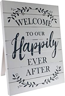 """Barnyard Designs Welcome to Our Happily Ever After Sign Rustic Vintage Decor for Weddings and Home 23.5"""" x 17.75"""""""