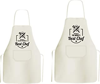 Dad & Kid Matching Apron - 2 Pieces - Polyester - with Cute Design Print Adjustable String Around Neck & Waist - Wear While Cooking, Baking, Or Grilling Favorite Meals & Dishes