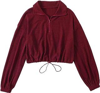 SweatyRocks Women's Long Sleeve Drawstring Hem Zipper Crop Top Pullover Sweatshirt