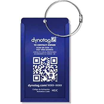 Dynotag Web Enabled QR Smart Aluminum Convertible Luggage Tag w. Steel Loop