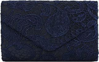 U-Story Womens Floral Lace Satin Evening Envelope Clutch Bridal Wedding Handbag Purse