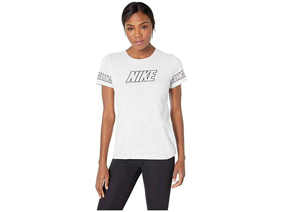 Nike Dry Dri-FIT Cotton Brand Slub Tee (White/Heather) Women