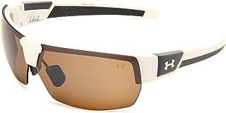 نظارات شمسية بيضاوية من Under Armour، إطار أبيض من الساتان مع إطار من المطاط الرمادي الفحمي/بني مع عدسات متعددة، مقاس واحد