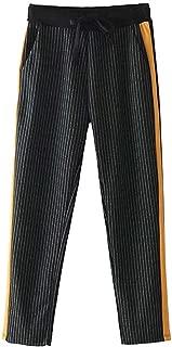 Women Chic Side Stripe Plaid Pants Drawstring Pockets British Style Lady Autumn Fashion Casual Trousers