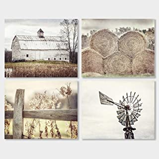 Farmhouse Home Decor Unframed Print set of 4, Beige, Brown, Yellow, Tan, Rustic Country Wall Art. 5x7, 8x10, 11x14, or 16x20.