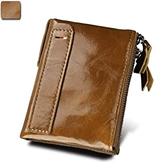 Men's Wallet Crazy Horse Leather Leather Short Anti-RFID Stolen Brush Double Zipper Wallet Fashion Trend Front (Color : Yellow, Size : S)