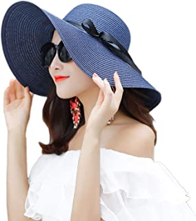 WSLCN Straw Sun Hats for Women Foldable Large Brim Summer Beach Outdoor Sunhat Ribbon Bow Anti-UV Protection