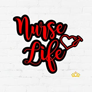 Nurse Life with Heart Stethoscope Vinyl Decal   Registered Nurse Sticker for Yeti Cup, Tumbler, Laptop   Gifts for RN   Red and Black, 3.5 inches