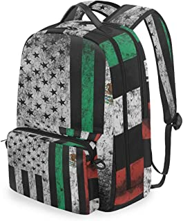 SLHFPX Women/Men Backpack USA And Mexico Flag Combinations Bookbag College School Shoulder Bag Daypack Travel Rucksack for Youth