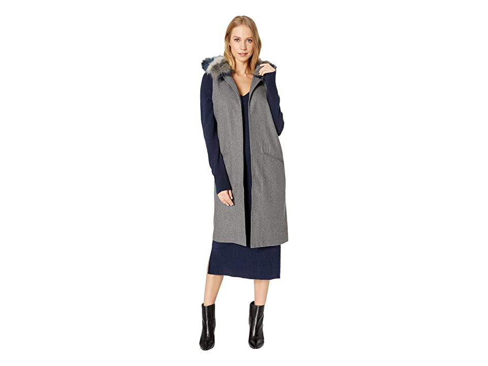 Steve Madden Faux Fur Trim Hooded Vest (Heather Grey) Women