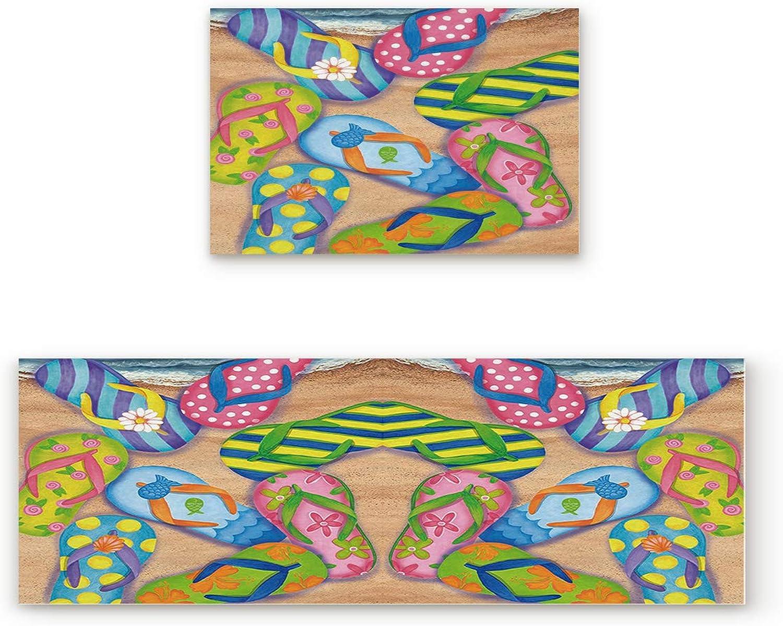Greday Kitchen Rugs, Non Slip Mat Kitchen Rug Set 2 Piece colorful Beach Sandal Flip Flops Print 19.7 x31.5 +19.7 x63