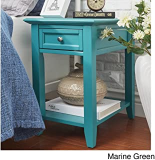 ModHaus Living Modern Wood Accent End Table Night Stand with Power Strip1 Drawer and Storage Shelf - Includes Pen (Teal)
