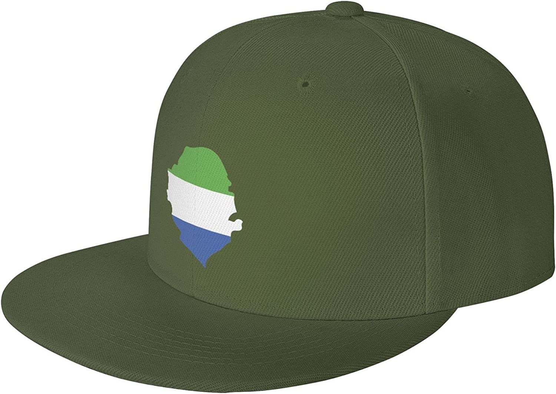 Sierra Leone Flag Country of Africa Flat Brim Baseball Hat Cowboy Hat Sun Hat Unisex