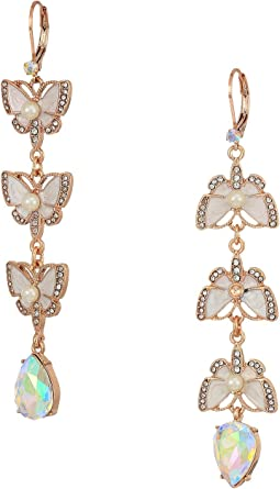 Rose Gold and White Butterfly Linear Non-Matching Earrings