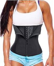 Gotoly Women Latex Waist Trainer Corset Zipper Underbust Cincher Belt Weight Loss Body Shaper