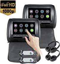 2x9 inch Touch Screen 1080P Car Headrest DVD Player Video Monitor with Leather Cover Zipper FM&IR Transmitter Games for Kids Road Trips Entertainment System 2pcs IR Headphone Included