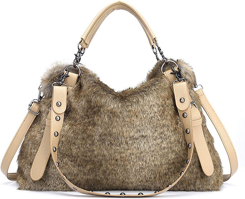 Marchome Large Faux Fur Satchel Handbag Top Handle Tote Bag Crossbody Shoulder Bag Brown