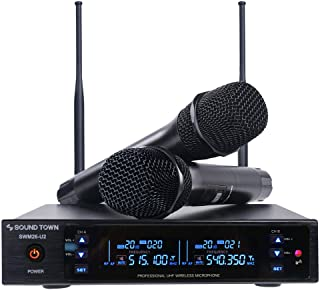 Sound Town Metal 200 Channels UHF Wireless Microphone System with 2 Handheld Microphones and Auto Scan, for Church, Schoo...