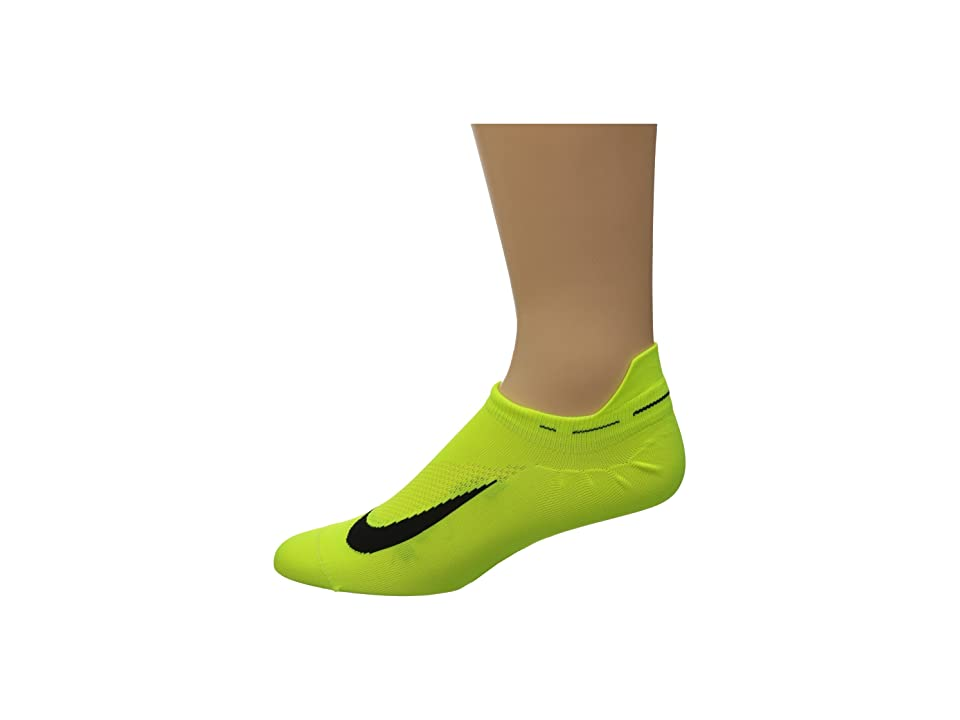 Nike Elite Running Lightweight No Show (Volt/Black/Black) No Show Socks Shoes