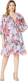 Adrianna Papell Women's Plus Size Coral Blossoms Faux Wrap Dress