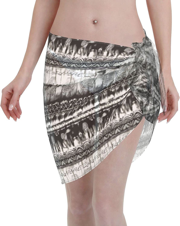 YAMAJDR Gradient Black White Gray Chiffon Beach Sarong Women Short Cover ups Beach Swimwear Wrap Skirt