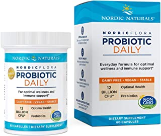 Nordic Naturals Nordic Flora Probiotic Daily - 60 Capsules - 4 Probiotic Strains with 12 Billion Cultures - Optimal Wellne...