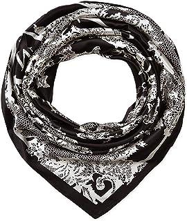 أوشحة كبيرة مربعة من الحرير الحريري خفيف الوزن أغطية النوم للنساء بنمط أبيض وأسود