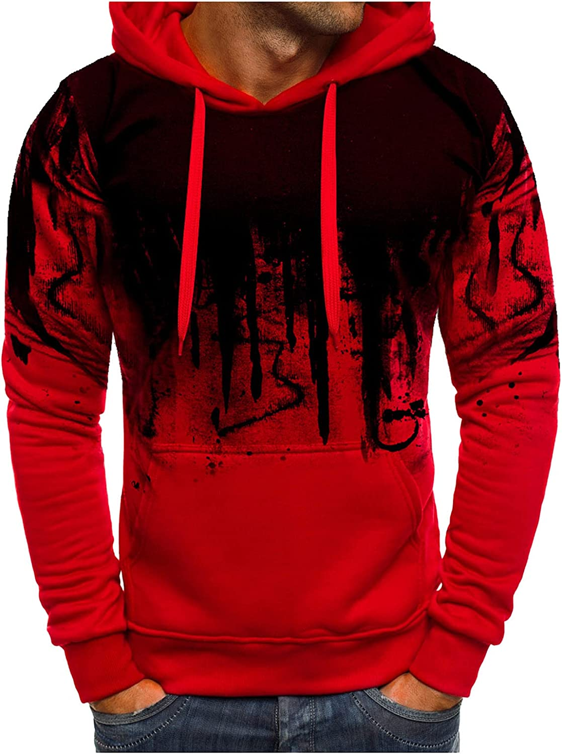 Burband Mens Fashion Hoodie Pullover Sweatshirts Big and Tall 3D Digital Printed Graphic Tees Athletic Workout Muscle Tops