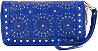 AMNF RFID Blocking Laser Cut Studded Double Zip-Around Wristlet Wallet for Women