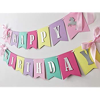 Partysanthe Unicorn Happy Birthday Banner / Unicorn Backdrop 1Ft-3Ft/ Unicorn Party Supplies/Back Drop Name Drops/Birthday Theme