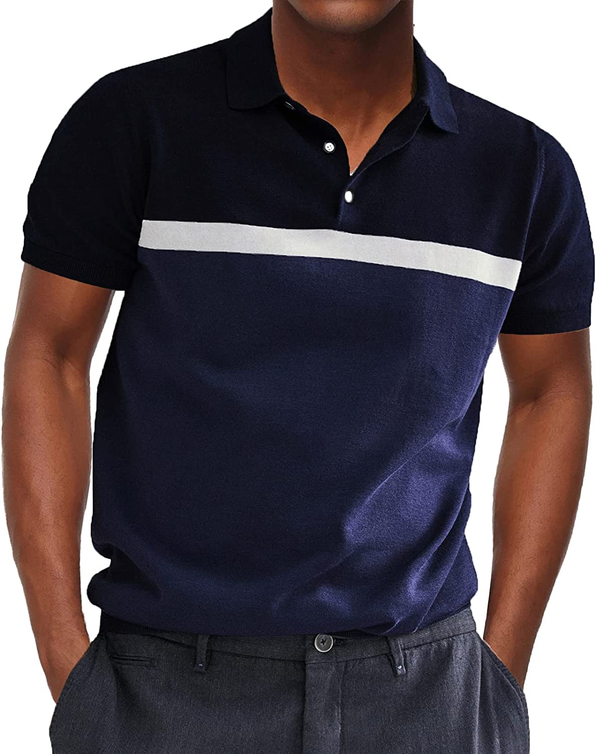 Men's Contrast Knit Polo Shirts T Sleeve free shipping Attention brand Lightweight Short