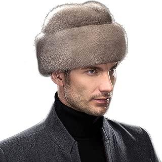 Men's Genuine Mink Fur Russian Cossack Hat Caps Gray