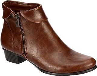 Rue - Women's Low Heel Zip-up Short Dress Ankle Boot