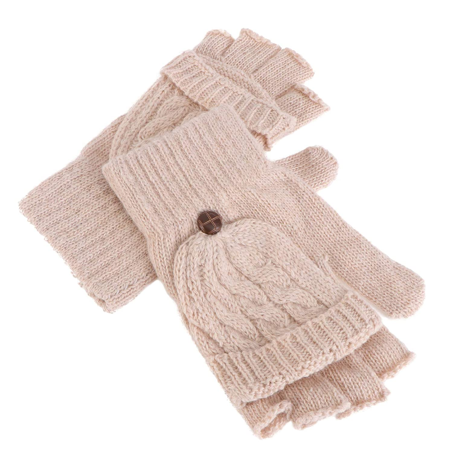 Winter Gloves Winter Knitted Fingerless Gloves With Mitten Cover Convertible Knitted Glove (Beige)