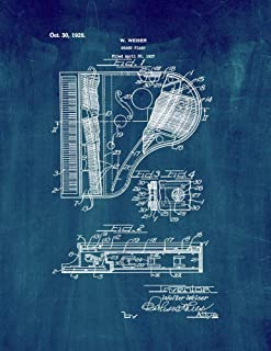 Grand Piano Patent Print Midnight Blue (8.5