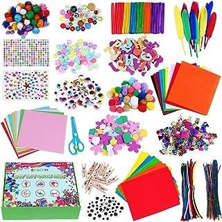 CGBOOM Pipe Cleaners Crafts Kit, 1600+ Pièces Kit de Bricolage, Loisirs Creatifs avec Pompons, Paillettes, Googly Eyes, DI...