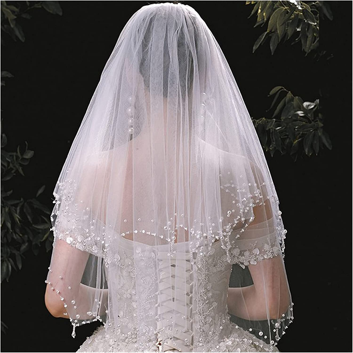 xunyang Direct sale of manufacturer White Ivory 2 Tiers Veils Fingertip Wedding Pear Crystal Branded goods