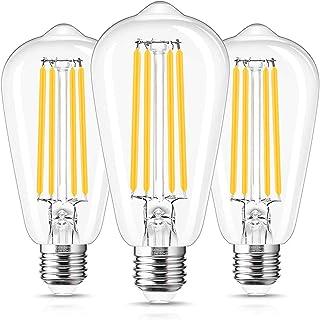 Bombillas de Filamento ST64 LED E27, LOHAS 15W Equivalente a 140W, 1500LM, Blanco Cálido 2700K, Ángulo de Haz de 330 Grado...