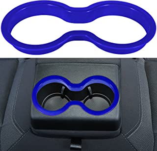 LAIKOU Rear Water Cup Holder Trim Cover ABS Decoration Interior Accessories for 2010-2021 Dodge Charger (Blue)