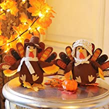 FORUP Standing Turkey Couple Thanksgiving Decoration for Autumn Fall Thanksgiving Harvest Halloween Home Decor