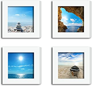 """4Pcs 4x4 Real Glass Wood Frame White Square , Fit Family Pictures 4x4"""" Photo (Window 3.6x3.6 inch ) , Desktop Stand On Wall Family Combine Sea Jetty Beach Motivational Decoration (10 Set Pictures) 09"""